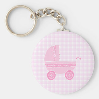 Baby Stroller. Light Pink on Pink Gingham. Basic Round Button Key Ring