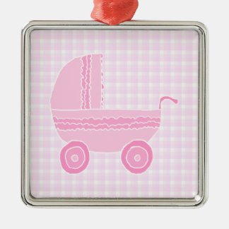 Baby Stroller. Light Pink on Pink Gingham. Christmas Ornament