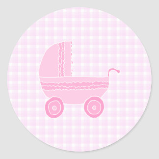 Baby Stroller. Light Pink on Pink Gingham. Classic Round Sticker