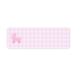 Baby Stroller. Light Pink on Pink Gingham. Return Address Label