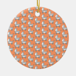 Baby Stroller Pattern on Orange. Christmas Ornament