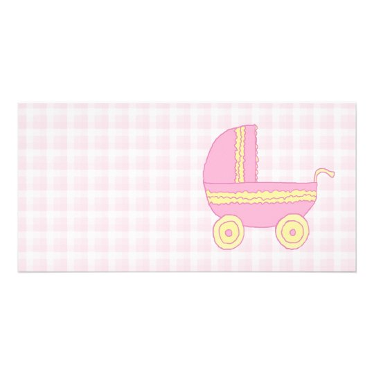 Baby Stroller. Pink and Yellow on Pink Check. Card