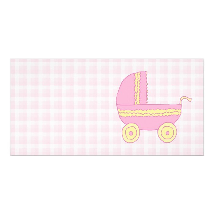 Baby Stroller. Pink and Yellow on Pink Check. Personalised Photo Card