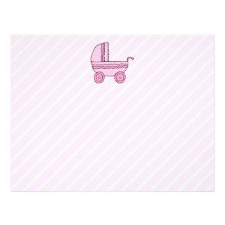 Baby Stroller. Pink on Light Pink Stripes. 21.5 Cm X 28 Cm Flyer