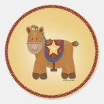 Baby Stuffed Animal Horse Classic Round Sticker