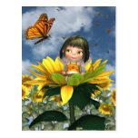Baby Sunflower Fairy with Summer Background
