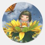 Baby Sunflower Fairy with Summer Background Round Sticker