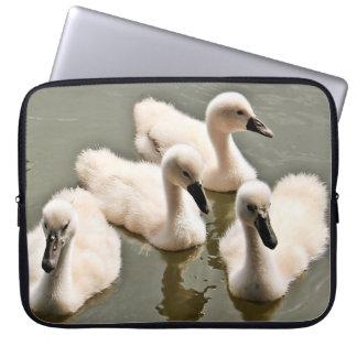 Baby Swans Swimming Laptop Sleeve