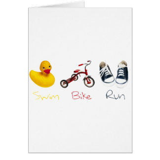 Baby Swim Bike Run Greeting Card