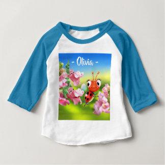 Baby T Ladybug friendly Snap Dragons 3/4 sleeve Baby T-Shirt