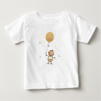 Baby t-shirt with baby and golden balloon
