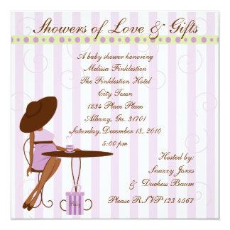 Baby Tea in Purple 13 Cm X 13 Cm Square Invitation Card