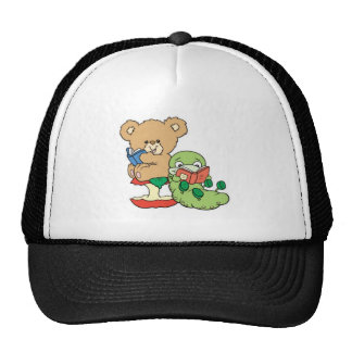 Baby Teddy Bear and Bookworm Read A Book Trucker Hat