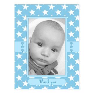 Baby Thank You blue stars Photo Postcard