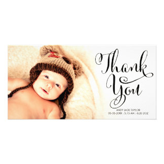 Baby Thank You Calligraphy Overlay Photo Cards