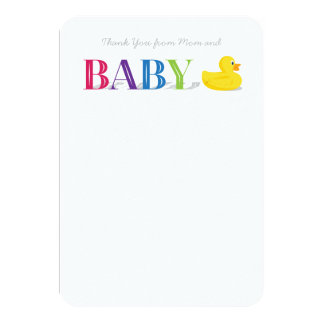 Baby Thank You Flat Note Cards Rubber Duck 9 Cm X 13 Cm Invitation Card