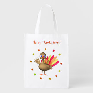 Baby Thanksgiving Turkey Reusable Grocery Bag