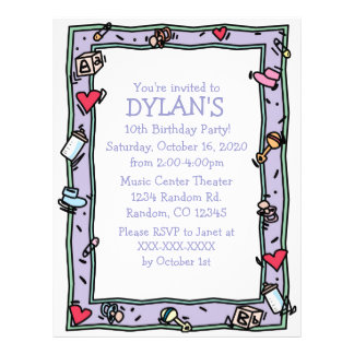 Baby theme birthday party flyer invitations