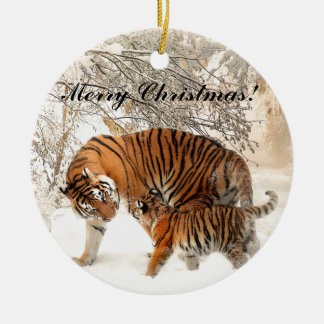 Baby tiger and Tiger mom in a snowy forest Christmas Ornament