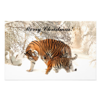 Baby tiger and Tiger mom in a snowy forest Stationery