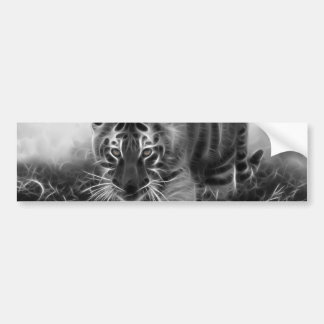 Baby Tiger stalking in Black and white Bumper Sticker