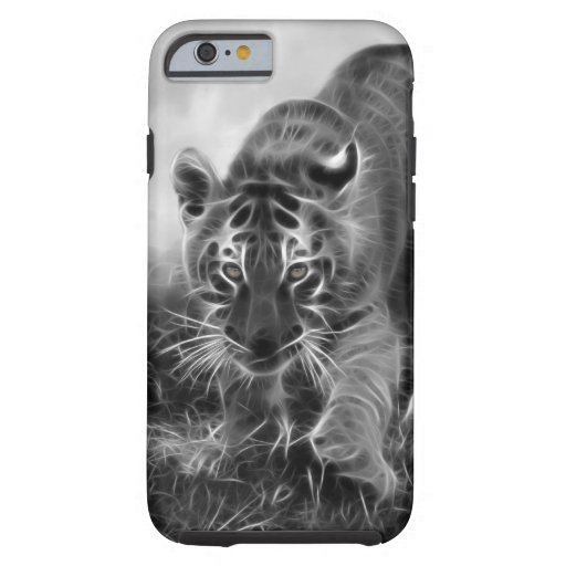 Baby Tiger stalking in Black and white iPhone 6 Case