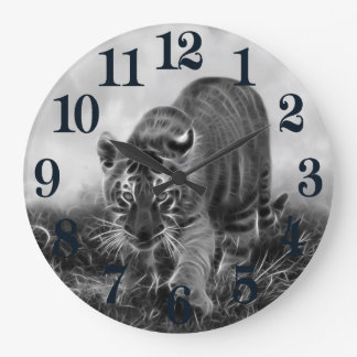Baby Tiger stalking in Black and white Large Clock