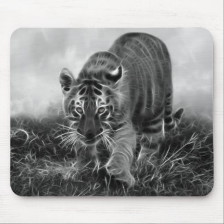 Baby Tiger stalking in Black and white Mouse Mat
