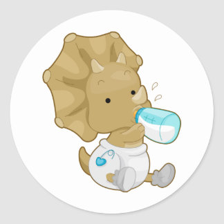 Baby Triceratops Classic Round Sticker
