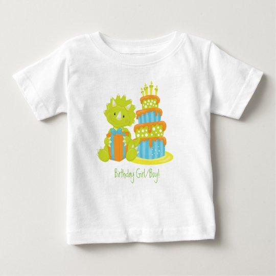 Baby Triceratops Dinosaur & Birthday Cake Baby T-Shirt