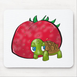 Baby Turtle and Juicy Strawberry Mousepads