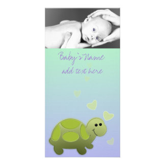 Baby Turtle Announcment Customized Photo Card