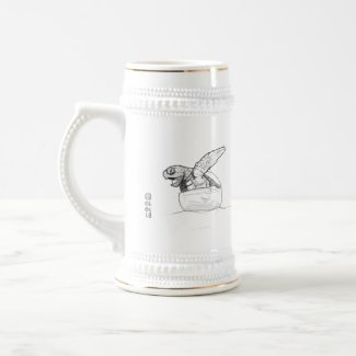 Baby Turtle Hatching Line Drawing Beer Stein