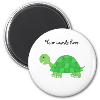 Baby turtle in green fade 6 cm round magnet