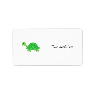 Baby turtle in green fade address label