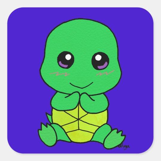 Baby turtle square sticker