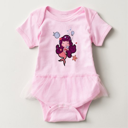 Baby tutu bodysuit pink with kawaii siren