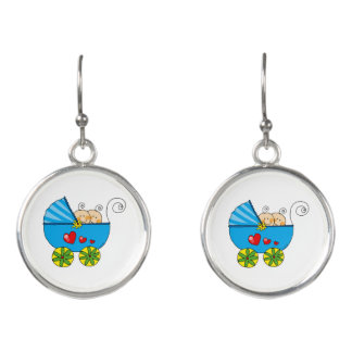 baby twin boys (blue pram) earrings