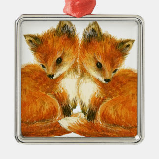 Baby Twin Foxes Silver-Colored Square Decoration