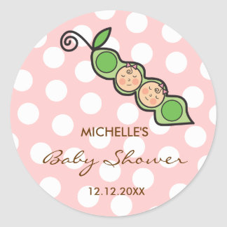 Baby Twin Girls Pea in a Pod Baby Shower Label /