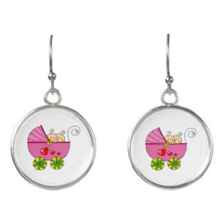 baby twin girls (pink pram) earrings
