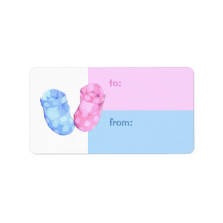 Baby Twins Booties Gift Tag Address Label