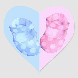 Baby Twins Booties Heart Sticker