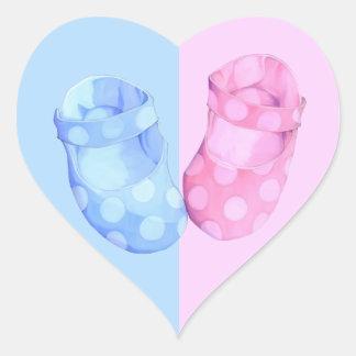 Baby Twins Booties Heart Sticker