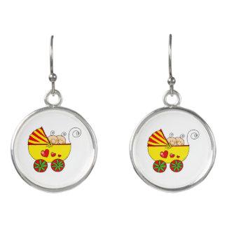 baby twins (yellow pram) earrings