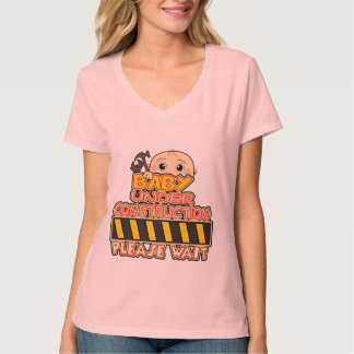 baby under construction,funny maternity tees