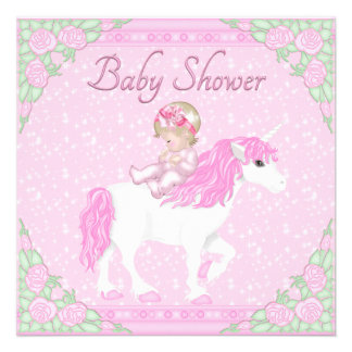 Baby Unicorn and Roses Pink Baby Shower Announcements