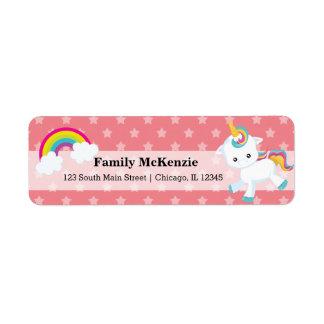 Baby Unicorn * CHOOSE your background color Return Address Label