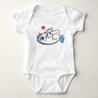 Baby unicorn feeding time - Blue Baby Bodysuit