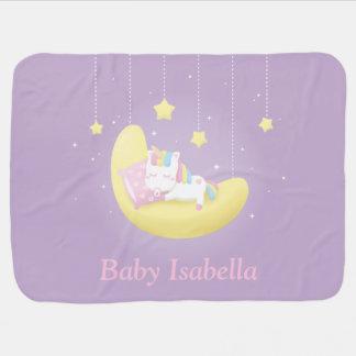 Baby Unicorn on Moon Girl Personalized Blanket